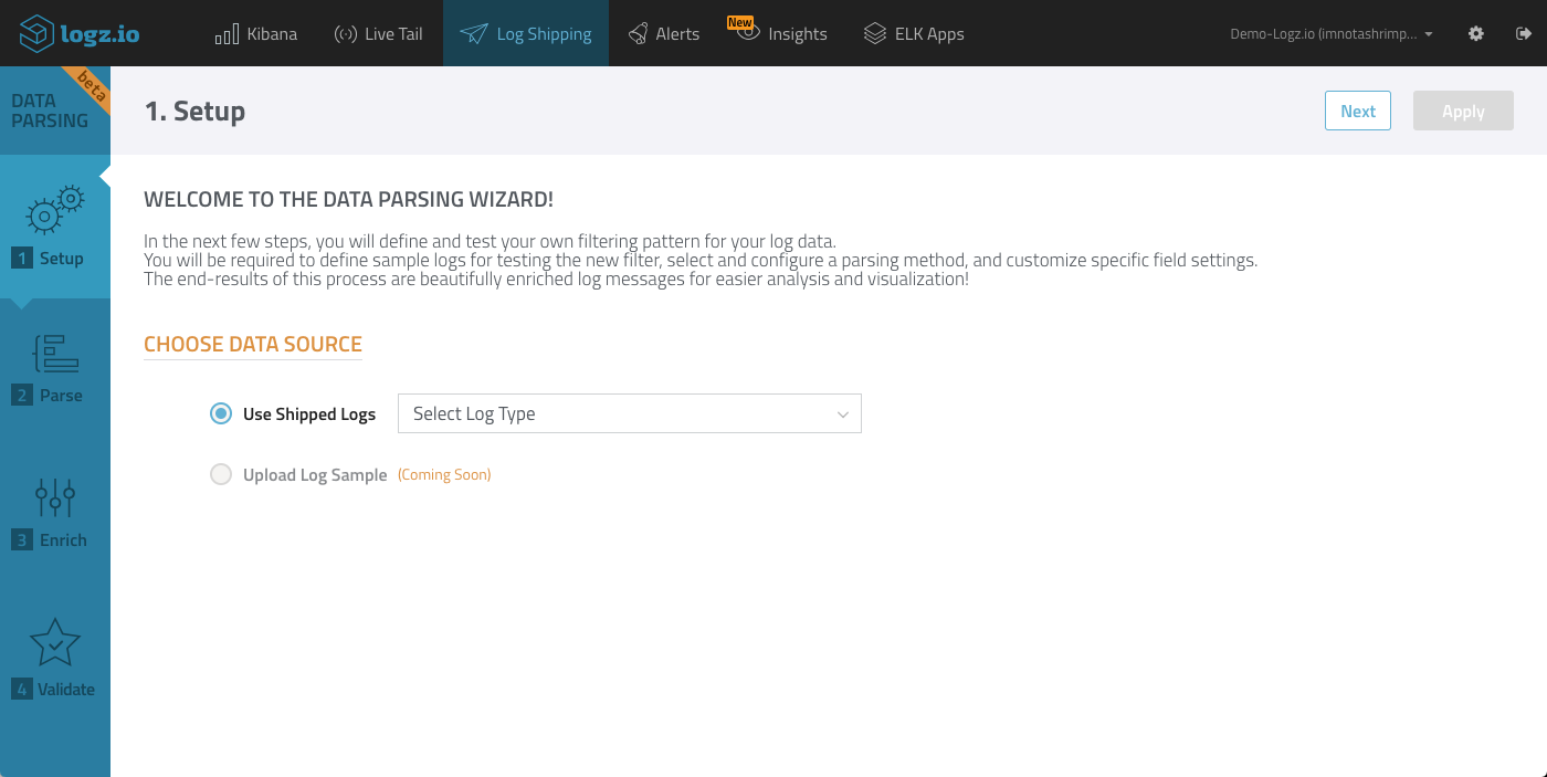 Data parsing wizard
