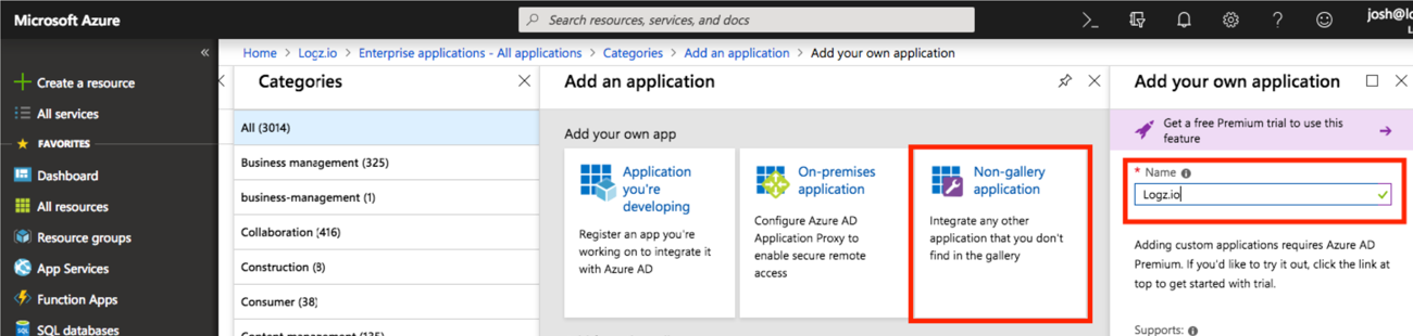 Add a non-gallery application in Azure