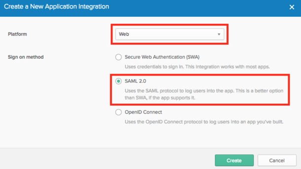 Create a New Application Integration panel